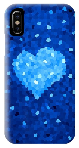 Winter Blue Crystal Heart IPhone Case
