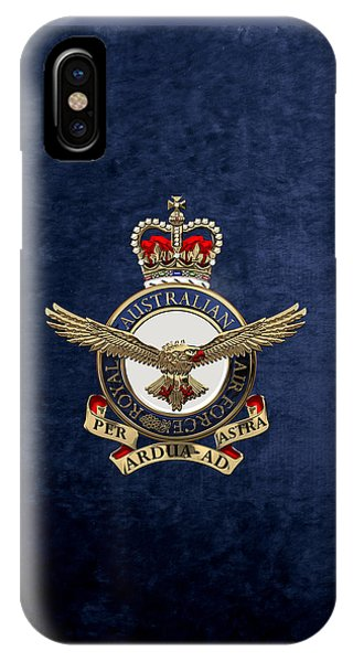 Royal Australian Air Force -  R A A F  Badge Over Blue Velvet IPhone Case