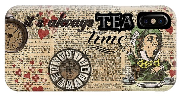 It's Always Tea Time Mad Hatter Dictionary Art IPhone Case