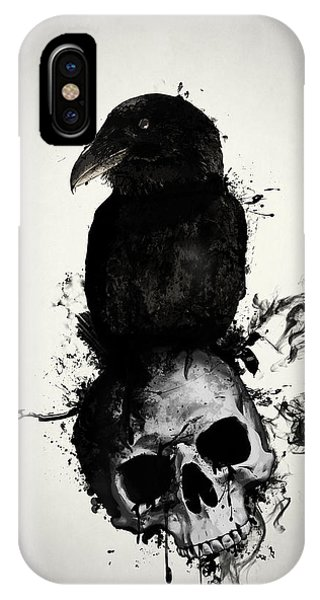 Skull iPhone Case - Raven And Skull by Nicklas Gustafsson