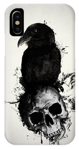 iPhone Case - Raven And Skull by Nicklas Gustafsson