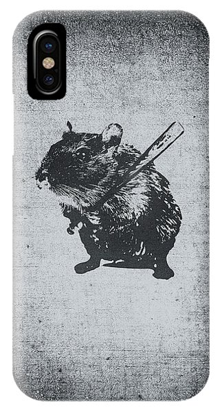 Bat iPhone Case - Angry Street Art Mouse  Hamster Baseball Edit  by Philipp Rietz