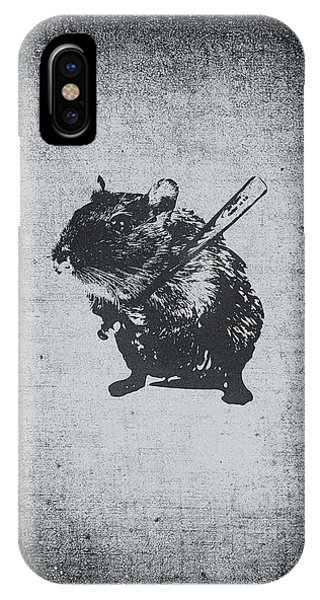 Angry Street Art Mouse  Hamster Baseball Edit  IPhone Case
