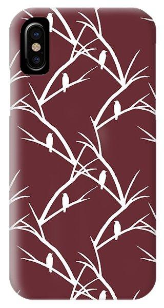 Simple iPhone Case - Rustic Bird Art Maroon Bird Silhouette by Christina Rollo