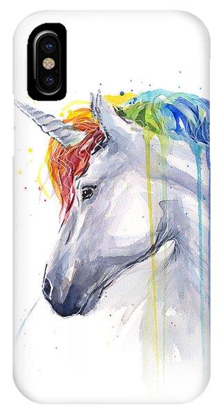 White Horse iPhone Case - Unicorn Rainbow Watercolor by Olga Shvartsur