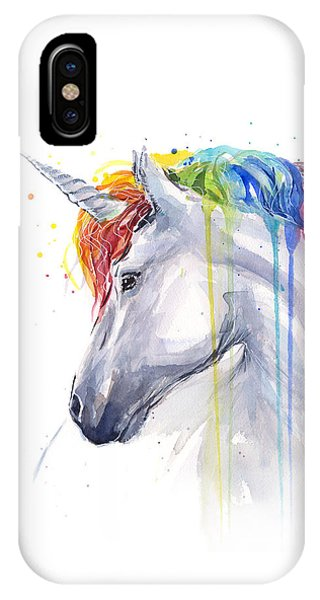 Magician iPhone X / XS Case - Unicorn Rainbow Watercolor by Olga Shvartsur
