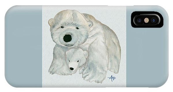 IPhone Case featuring the painting Cuddly Polar Bear Watercolor by Angeles M Pomata