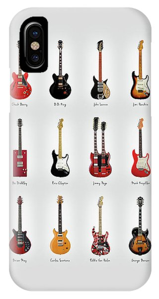 Rock And Roll iPhone X Case - Guitar Icons No1 by Mark Rogan