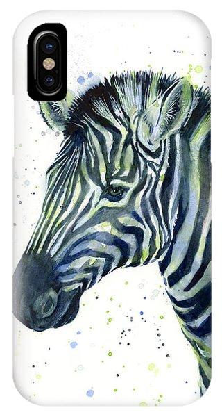 Zebra iPhone Case - Zebra Watercolor Blue Green  by Olga Shvartsur