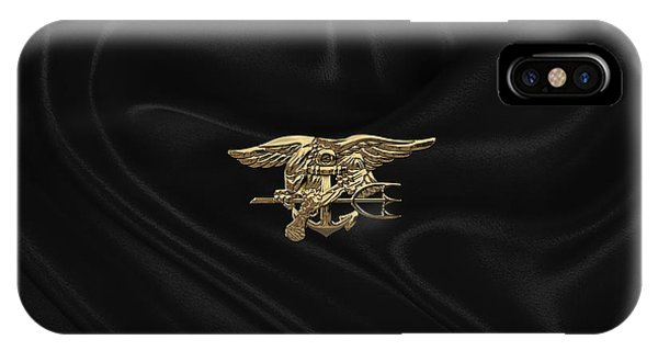 U.s. Navy Seals Trident Over Black Flag IPhone Case