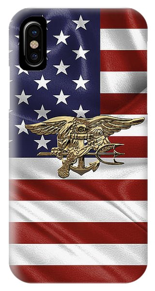 U.s. Navy Seals Trident Over U.s. Flag IPhone Case