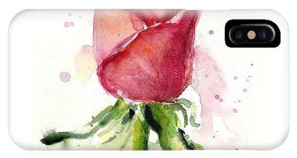 Red iPhone X Case - Rose Watercolor by Olga Shvartsur