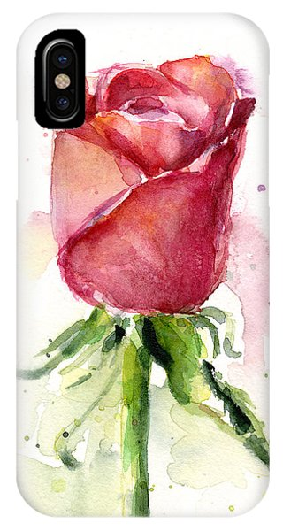 Rose iPhone X / XS Case - Rose Watercolor by Olga Shvartsur
