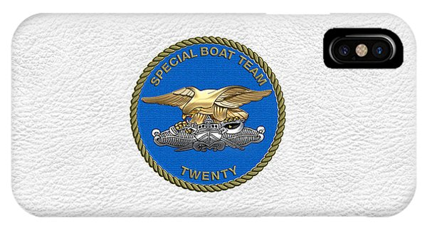 U. S. Navy S W C C - Special Boat Team 20   -  S B T 20   Patch Over White Leather IPhone Case