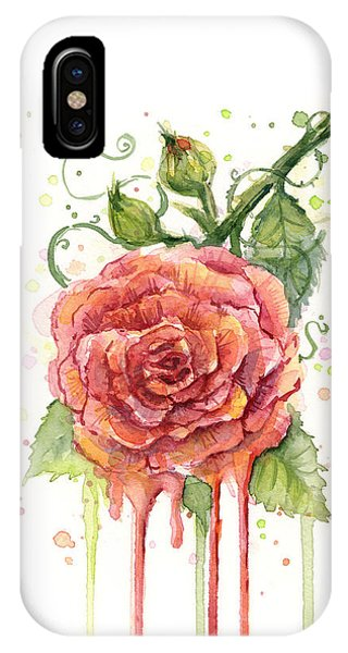 Red iPhone X Case - Red Rose Dripping Watercolor  by Olga Shvartsur