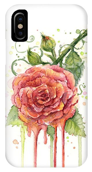 Rose iPhone X / XS Case - Red Rose Dripping Watercolor  by Olga Shvartsur