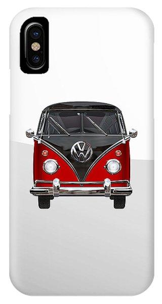Volkswagen iPhone Case - Volkswagen Type 2 - Red And Black Volkswagen T 1 Samba Bus On White  by Serge Averbukh
