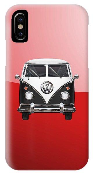 Volkswagen iPhone Case - Volkswagen Type 2 - Black And White Volkswagen T 1 Samba Bus On Red  by Serge Averbukh