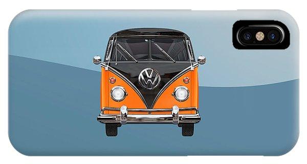 Vw Bus iPhone Case - Volkswagen Type 2 - Black And Orange Volkswagen T 1 Samba Bus Over Blue by Serge Averbukh
