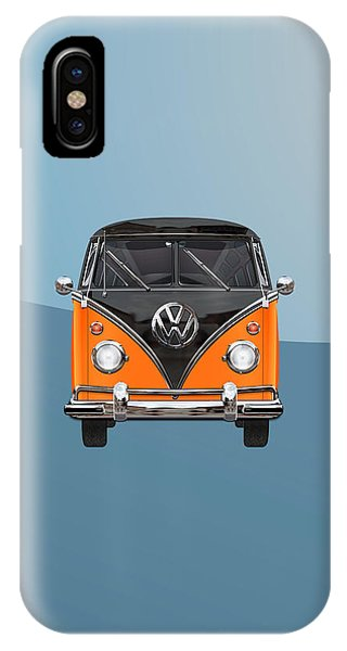 Volkswagen iPhone Case - Volkswagen Type 2 - Black And Orange Volkswagen T 1 Samba Bus Over Blue by Serge Averbukh