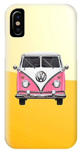 Volkswagen iPhone Case - Pink And White Volkswagen T 1 Samba Bus On Yellow by Serge Averbukh
