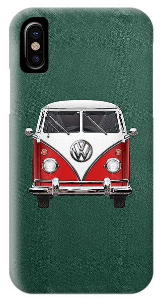 Volkswagen iPhone Case - Volkswagen Type 2 - Red And White Volkswagen T 1 Samba Bus Over Green Canvas  by Serge Averbukh