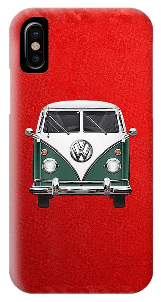Volkswagen iPhone Case - Volkswagen Type 2 - Green And White Volkswagen T 1 Samba Bus Over Red Canvas  by Serge Averbukh