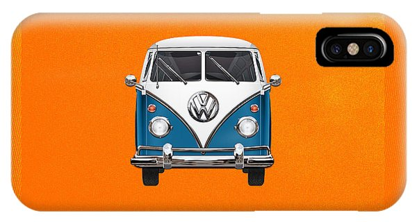 Vw Bus iPhone Case - Volkswagen Type 2 - Blue And White Volkswagen T 1 Samba Bus Over Orange Canvas  by Serge Averbukh