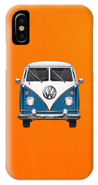 Volkswagen iPhone Case - Volkswagen Type 2 - Blue And White Volkswagen T 1 Samba Bus Over Orange Canvas  by Serge Averbukh