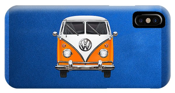 Vw Bus iPhone Case - Volkswagen Type - Orange And White Volkswagen T 1 Samba Bus Over Blue Canvas by Serge Averbukh