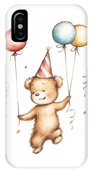 Baby Blue iPhone Case - Print Of Teddy Bear With Balloons by Anna Abramska