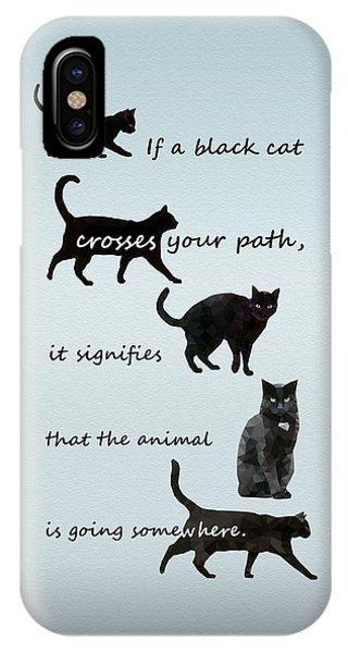 Black Cat Crossing IPhone Case
