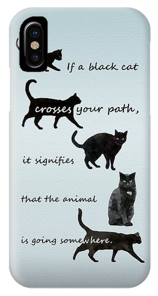 IPhone Case featuring the digital art Black Cat Crossing by Ivana Westin