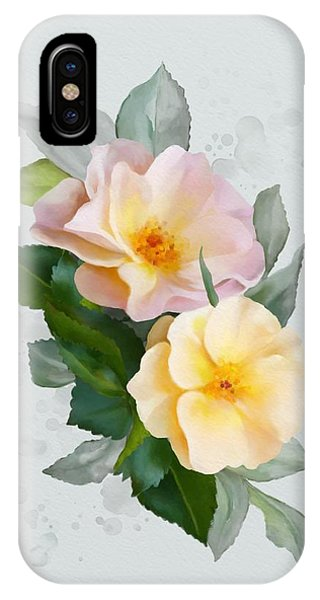 IPhone Case featuring the painting Two Wild Roses by Ivana Westin