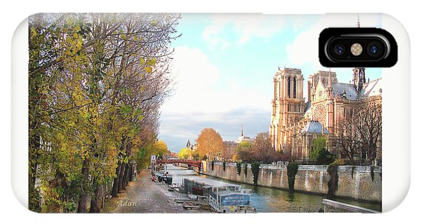 The Seine And Quay Beside Notre Dame, Autumn IPhone Case