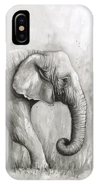 Jungle iPhone Case - Elephant Watercolor by Olga Shvartsur