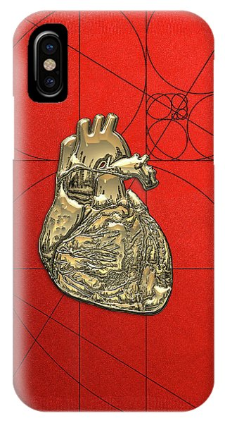 Pop Art iPhone Case - Heart Of Gold - Golden Human Heart On Red Canvas by Serge Averbukh