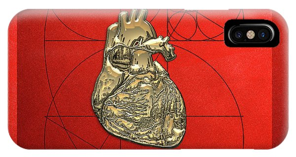 Artwork iPhone Case - Heart Of Gold - Golden Human Heart On Red Canvas by Serge Averbukh