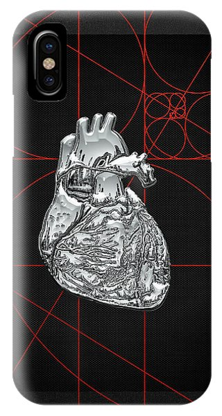 Pop Art iPhone Case - Silver Human Heart On Black Canvas by Serge Averbukh