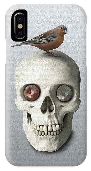 IPhone Case featuring the painting Skull And Bird by Ivana Westin