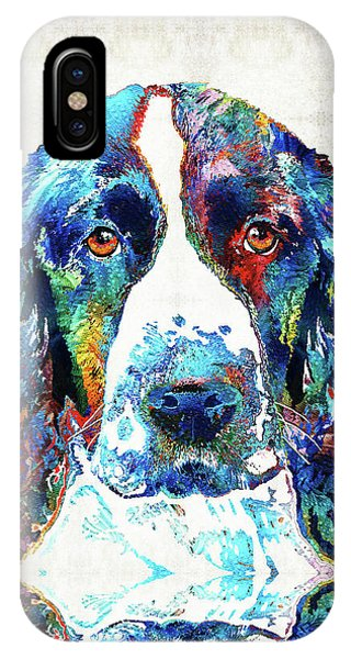 Primary Colors iPhone Case - Colorful English Springer Spaniel Dog By Sharon Cummings by Sharon Cummings