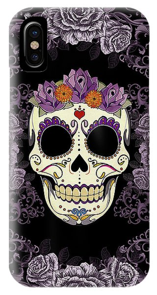Tribal iPhone Case - Vintage Sugar Skull And Roses by Tammy Wetzel