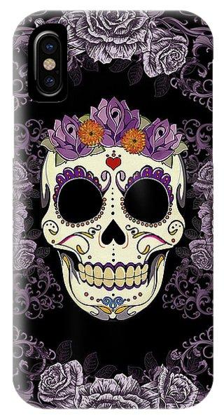 Skull iPhone Case - Vintage Sugar Skull And Roses by Tammy Wetzel