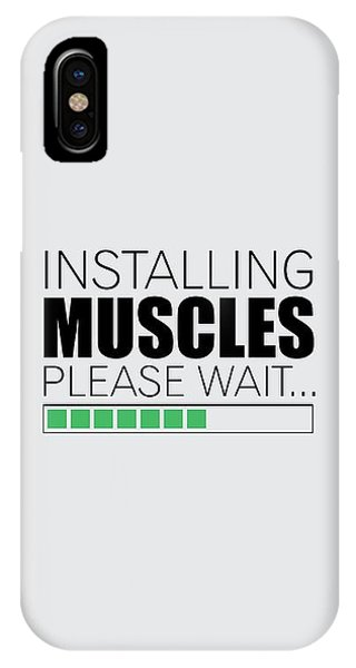 Workout iPhone Case - Installing Muscles Please Wait Gym Motivational Quotes Poster by Lab No 4