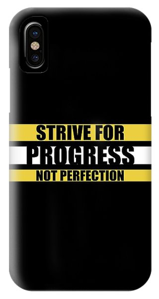 Workout iPhone Case - Strive For Progress Not Perfection Gym Motivational Quotes Poster by Lab No 4