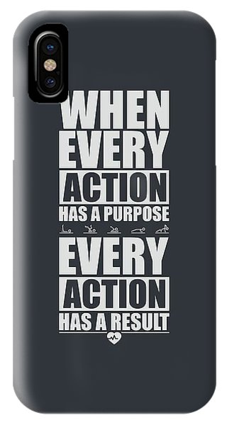 Workout iPhone Case - When Every Action Has A Purpose Every Action Has A Result Gym Motivational Quotes by Lab No 4