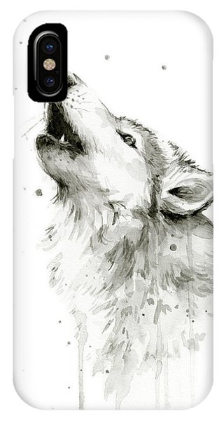 Watercolors iPhone X Case - Howling Wolf Watercolor by Olga Shvartsur