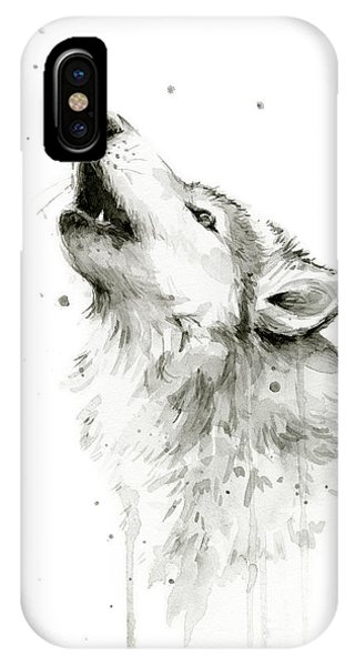 Watercolor iPhone Case - Howling Wolf Watercolor by Olga Shvartsur