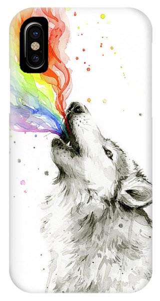 Wolf iPhone Case - Wolf Rainbow Watercolor by Olga Shvartsur