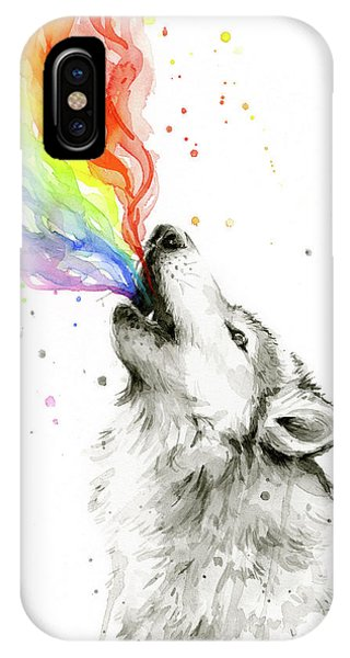 Wolf Rainbow Watercolor IPhone Case